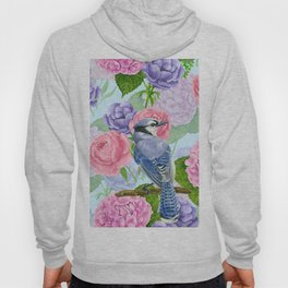 Blue jay and flowers watercolor pattern Hoody