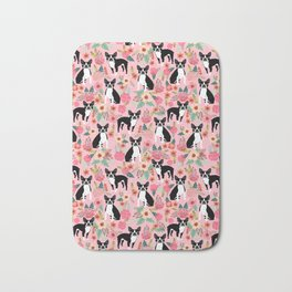 Boston Terrier floral black and white coat essential gifts for boston terriers owners florals Bath Mat