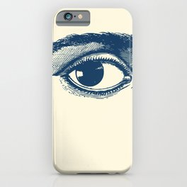 I see you. Navy Blue on Cream iPhone Case