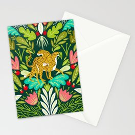 Cheetah Couple Illustration, Wild Cat Jungle Nature, Mandala Painting, Wildlife Tropical Tiger Stationery Cards