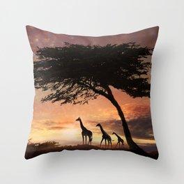 Purple Safari Sunset- giraffe family Throw Pillow