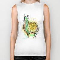 llama Biker Tanks featuring Llama by Nemki