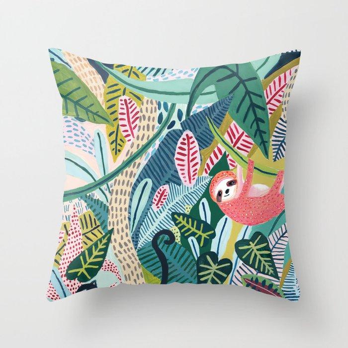 Jungle Sloth & Panther Pals Throw Pillow