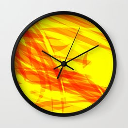 Gold and smooth sparkling lines of orange ribbons on the theme of space and abstraction. Wall Clock