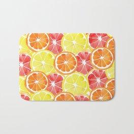 Grapefruit Lemon Orange Pattern Bath Mat