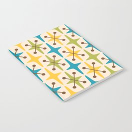 Mid Century Modern Abstract Star Pattern 441 Yellow Brown Turquoise Chartreuse Notebook