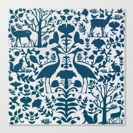 Folk Art Pattern Blue Teal on Gray Canvas Print
