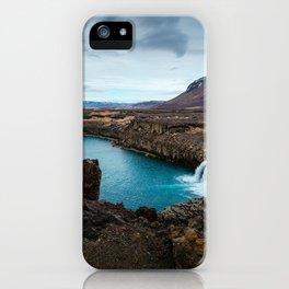 Lake Mountain sky blue iPhone Case