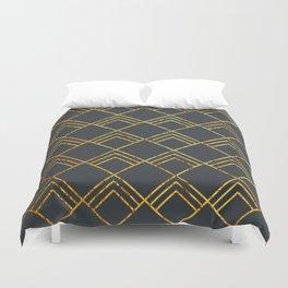 Diamond Art Deco; - Black & Gold Duvet Cover