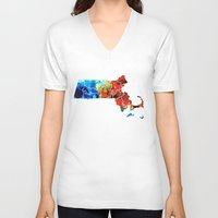patriots V-neck T-shirts featuring Massachusetts - Map Counties By Sharon Cummings by Sharon Cummings