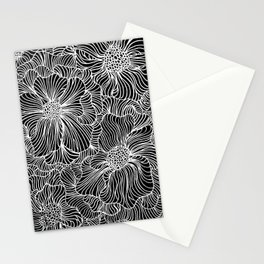 Flowers all over black Stationery Cards