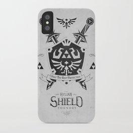 Legend of Zelda Hylian Shield Foundry logo Iconic Geek Line Artly iPhone Case