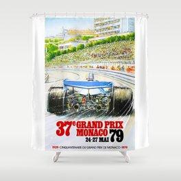 1979 Monaco Grand Prix Race Poster Shower Curtain