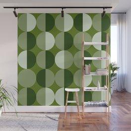 Retro circles grid green Wall Mural