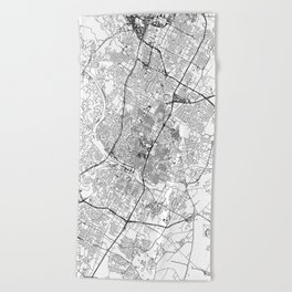 Austin White Map Beach Towel