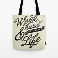 work hard Tote Bags featuring Work Hard by Sebastián Andaur