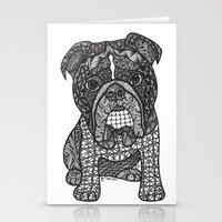 english bulldog Stationery Cards featuring  Inspired English Bulldog by DiAnne Ferrer