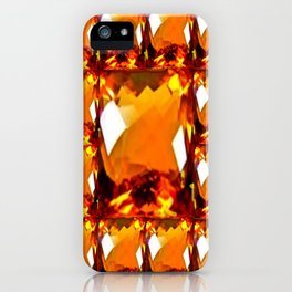 Golden Topaz Gems Pattern Abstract iPhone Case