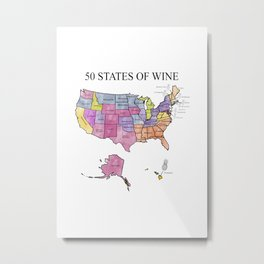 50 States of Wine Metal Print
