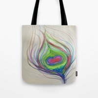 peacock feather Tote Bags featuring Peacock Feather by Aries Art