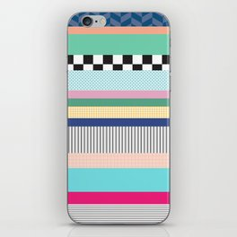Stripes Mixed Print and Pattern with Color blocking iPhone Skin