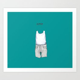 Male Specimen II, blue Art Print