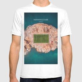 Henningsvær Football Pitch, Lofoten, Norway Travel Illustration T-shirt