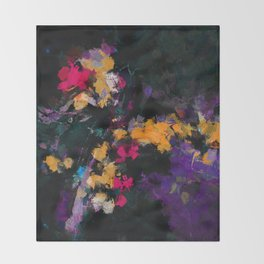 Purple and Yellow Abstract / Surrealist Painting Throw Blanket
