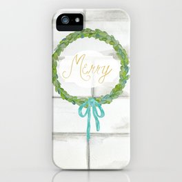 Merry gold and blue boxwood Christmas wreath iPhone Case
