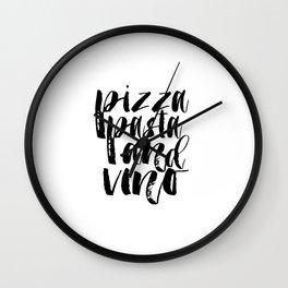 Kitchen Wall Art Food Art Home Decor Word Art Wall Decor Pizza Pasta And Vino Kitchen Wall Art Wall Clock
