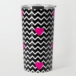 Black Chevron with Hot Pink Hearts Travel Mug