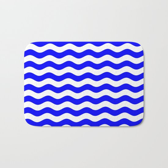 Wavy Stripes (Blue/White) Bath Mat