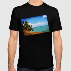 Pine Tree on a Headland with Topical Ocean MEDIUM Black Mens Fitted Tee