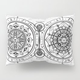 "Taurus ""Earth Sign"" Zodiac Mandala Chart Pillow Sham"