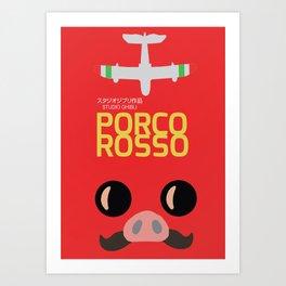 Porco Rosso - Hayao Miyazaki minimalist movie poster - Studio Ghibli, japanese animated film Art Print