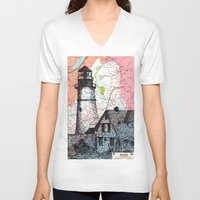 maine V-neck T-shirts featuring Maine by Ursula Rodgers