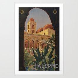 Vintage Travel Poster - Palermo, Sicilia - Vintage Italy Travel Poster Art Print