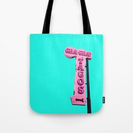 Cha-Cha's Tacos Retro Vintage Pink Sign Tote Bag
