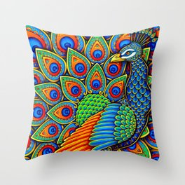 Colorful Paisley Peacock Rainbow Bird Throw Pillow