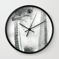 ostrich Wall Clocks featuring Ostrich by FNKYMNKY