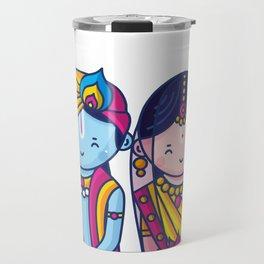 Cute Radha Krishna Travel Mug