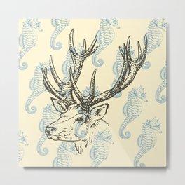 Reindeer with Seahorses Metal Print