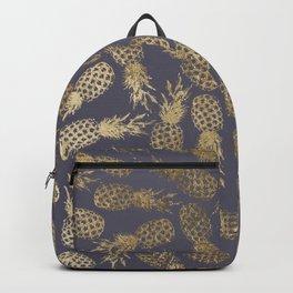 Elegant mauve purple gold tropical pineapple fruit Backpack