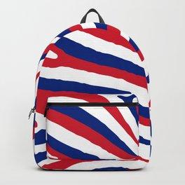UK British Union Jack Red White and Blue Zebra Stripes Backpack