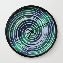 Green and blue twirl shapes Wall Clock