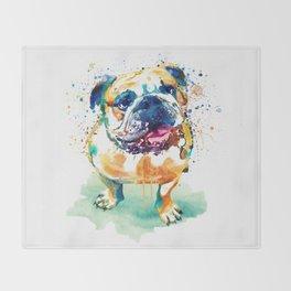 Watercolor Bulldog Throw Blanket