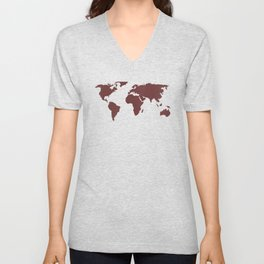 World Map -  Crimson Red on Cream Linen Unisex V-Neck