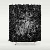 kansas city Shower Curtains featuring Kansas City map by Line Line Lines