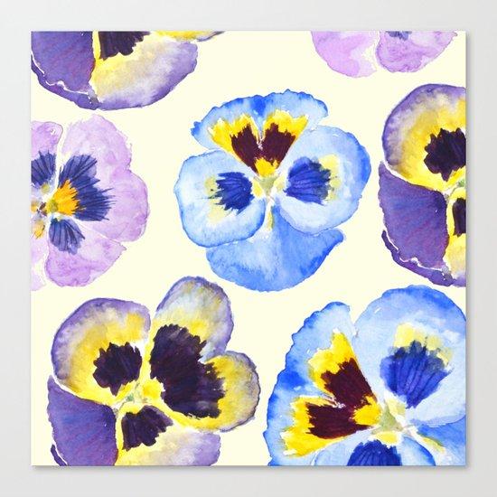 pansies pattern watercolor painting Canvas Print