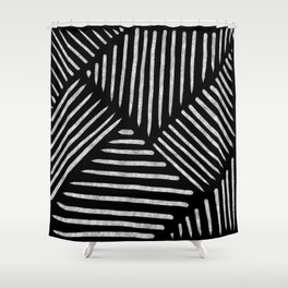 Lines and Patterns in Black and White Brush Shower Curtain